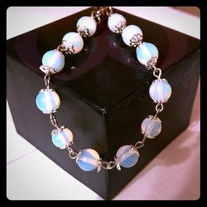 Jewelry - Handmade Opalite Bead Bracelet and Pinky Ring Set